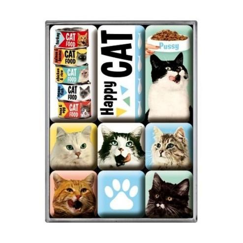 Happy Cat - Magneet set- Nostalgic Art