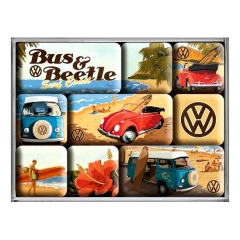Volkswagen Bus & Beetle - Magneet set- Nostalgic Art