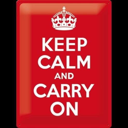 Metaalplaat Keep Calm an carry on 30x40cm.Nostalgic Art