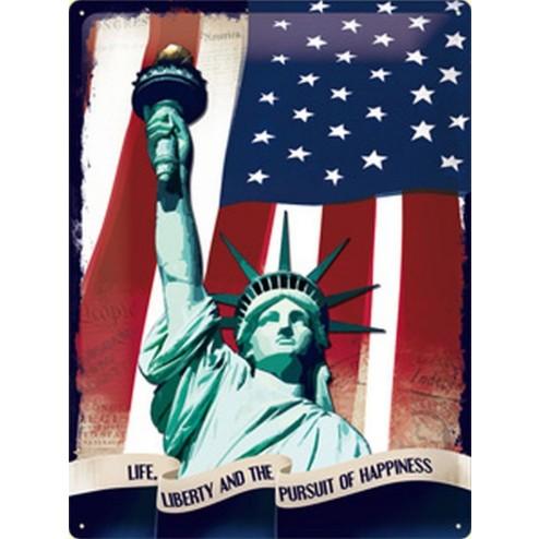 Metaalplaat 30x40cm.Life liberty and the pursuit of happiness