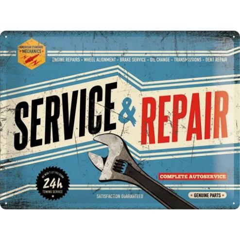 Metaalplaat Service and repair 30x40cm.Nostalgic Art