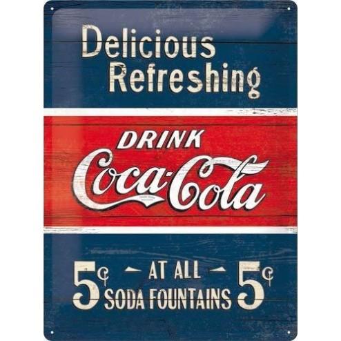 Metaalplaat 30x40cm Coca Cola Delicious Refreshing 1910 Nostalgic Art