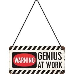 Hangbord  Hanging Sign Genius at Work 20x10cm.Nostalgic Art