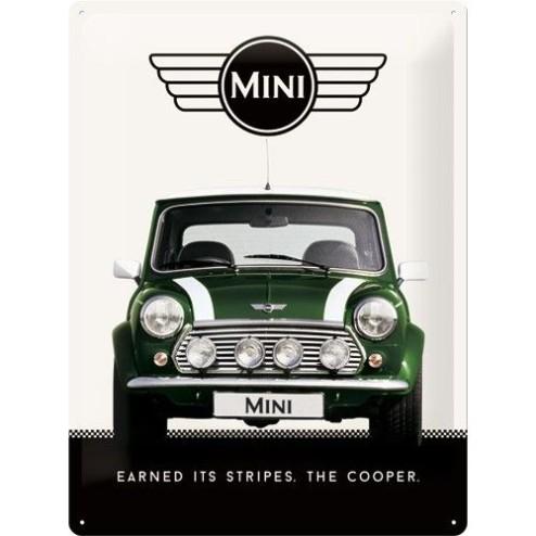 Metaalplaat Mini Cooper groen 30x40cm.Nostalgic Art