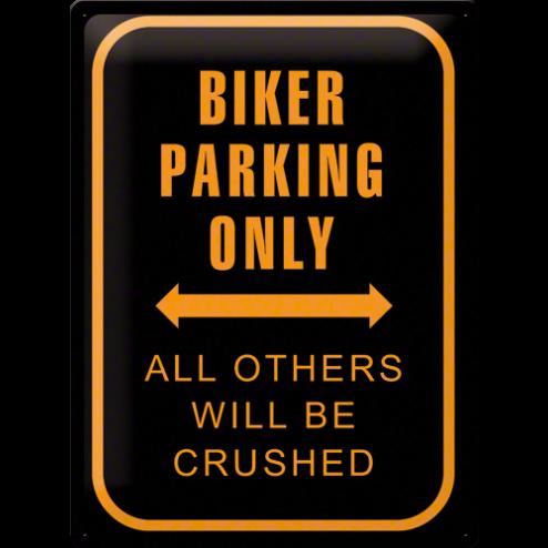 Metaalplaat Biker parking only 30x40cm.Nostalgic Art