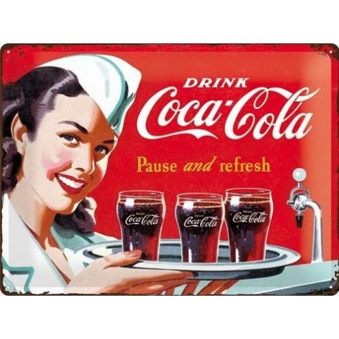 Metaalplaat Drink Coca Cola 1960 Waitress 30x40cm.Nostalgic Art