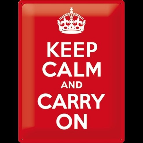 Metaalplaat Keep Calm an carry on 30x40cm.Nostalgic Art