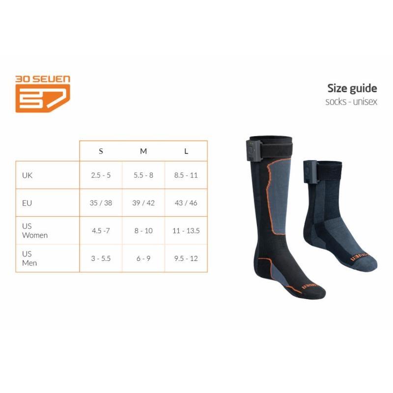 Maattabel sokken 30seven