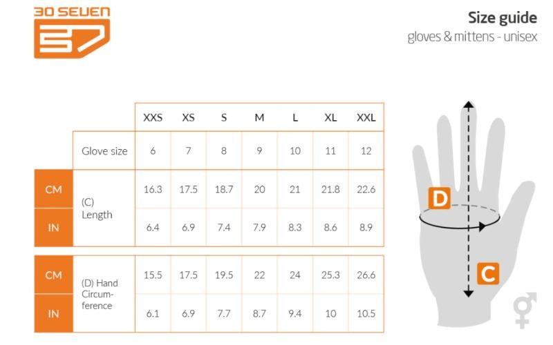 Maattabel handschoenen 30seven